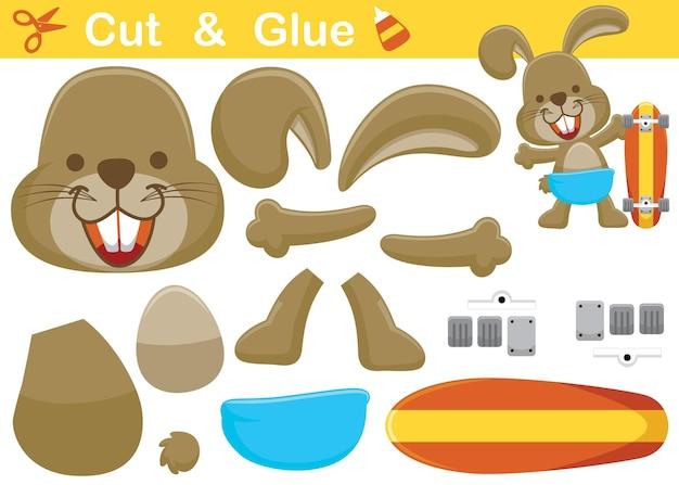 Szczęśliwy królik z deskorolką. papierowa gra edukacyjna dla dzieci. wycięcie i klejenie. ilustracja kreskówka