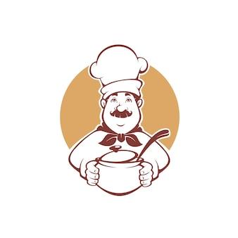 Szczęśliwy kucharz kreskówka trzyma garnek zupy, logo, etykiety, maskotka