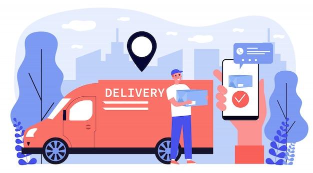 Szczęśliwy kurier dostarcza paczkę do klienta