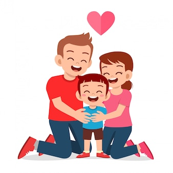 Szczęśliwy ładny chłopak z mamą i tatą