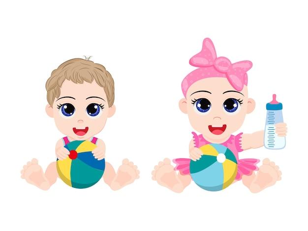 Szczęśliwy ładny dzieciak chłopiec i dziewczynka bawić się piłką zabawki i podajnikiem na białym tle na białym tle