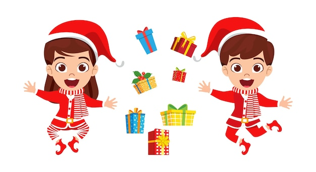 Szczęśliwy ładny dzieciak chłopiec i dziewczynka skaczący i świętujący wesołe charyzmaty i latające pudełka na prezenty i machający na białym tle