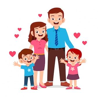 Szczęśliwy ładny dzieciak chłopiec i dziewczynka z mamą i tatą