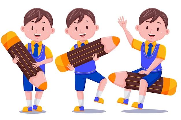 Szczęśliwy ładny dzieciak chłopiec postać z ołówkiem.