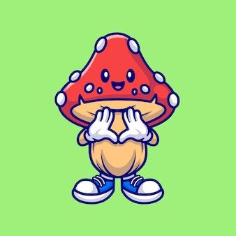 Szczęśliwy ładny grzyb kreskówka wektor ikona ilustracja. natura obiekt ikona koncepcja białym tle premium wektor. płaski styl kreskówki
