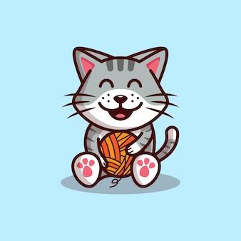 Szczęśliwy ładny kot gra ilustracja