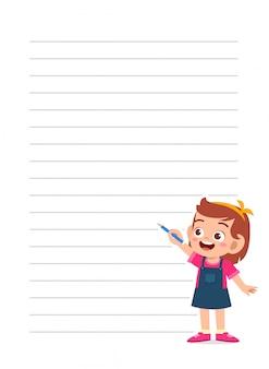 Szczęśliwy ładny małe dziecko dziewczynka notatnik szablon