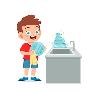 Szczęśliwy ładny mały chłopiec do mycia naczyń w kuchni ilustracja na białym tle