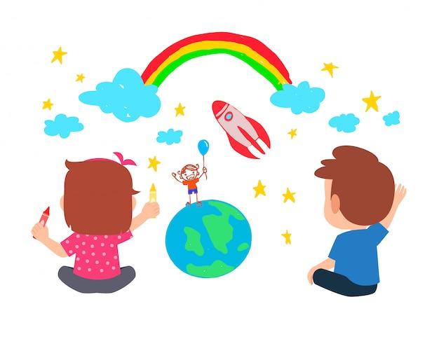 Szczęśliwy ładny mały chłopiec i dziewczynka razem rysują farbą na ścianie