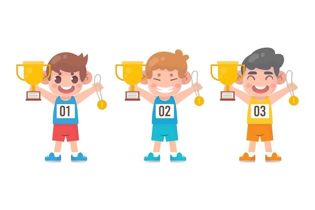 Szczęśliwy ładny Mały Chłopiec Trzyma Złoty Medal I Trofeum Premium Wektorów