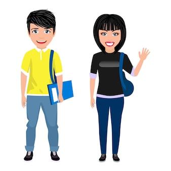 Szczęśliwy ładny piękny, inteligentny student uniwersytetu postać chłopca i dziewczyny z wesołym wyrazem twarzy i macha