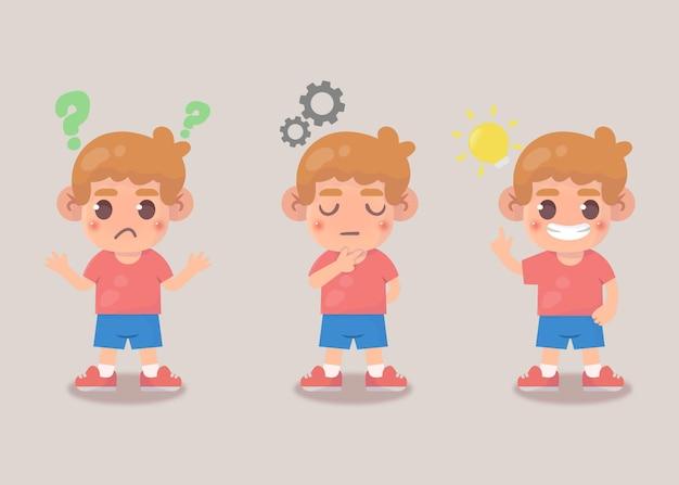 Szczęśliwy, ładny proces wyszukiwania pomysłu chłopca