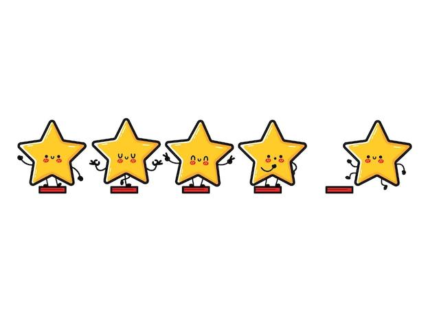 Szczęśliwy ładny uśmiechający się zabawny 5 gwiazdek. wektor płaskie doodle charakter ilustracja kreskówka ikona designu. na białym tle. urocza postać kawaii, pięć gwiazdek oceny oceny produktów przez klientów