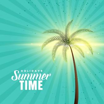 Szczęśliwy lata tło z drzewkiem palmowym