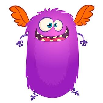Szczęśliwy latający kreskówka potwór. ilustracja wektorowa na halloween