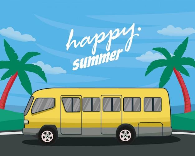 Szczęśliwy letni autobus na wakacjach wakacje letnie