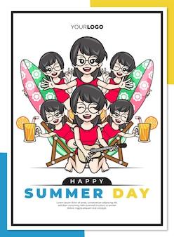 Szczęśliwy letni dzień plakat szablon z uroczą postacią z kreskówki