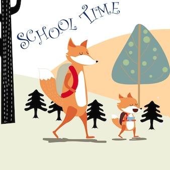Szczęśliwy lis i papa z powrotem do szkoły
