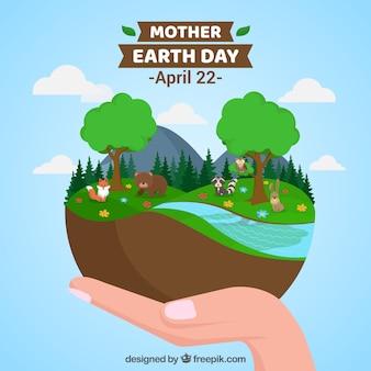 Szczęśliwy macierzysty ziemskiego dnia tło