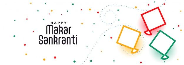Szczęśliwy makar sankranti latawce festiwal banner design