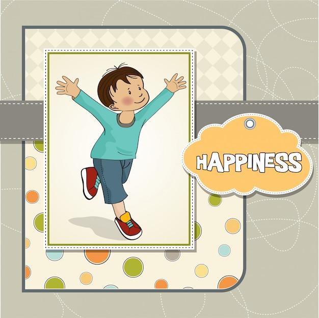 Szczęśliwy mały chłopiec, który biegnie
