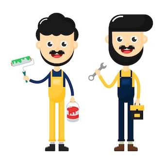 Szczęśliwy mechanik z przybornikiem. obsługa klienta pracownika. malarz na białym tle. postać z kreskówki.
