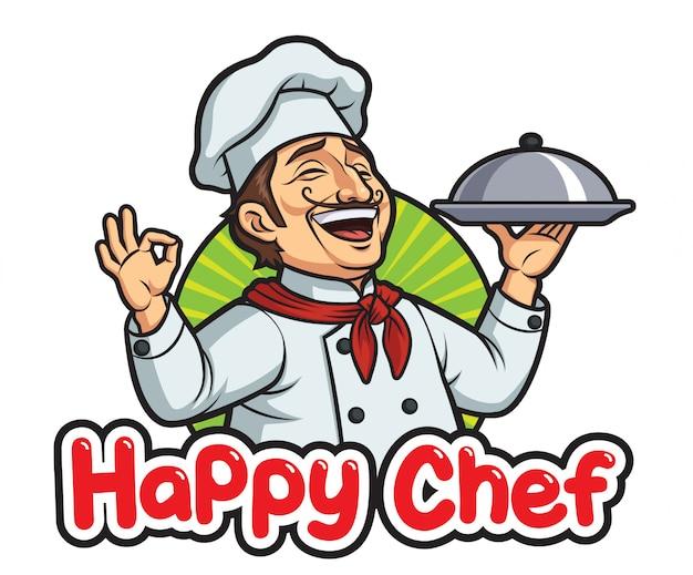 Szczęśliwy męski szef kuchni