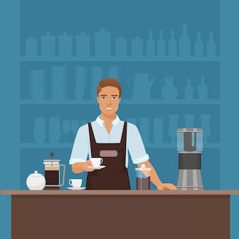 Szczęśliwy mężczyzna barista przygotowywa kawę w cukiernianej restauraci