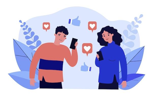 Szczęśliwy mężczyzna i kobieta oglądają lajki w mediach społecznościowych. smartfon, kciuk w górę, ilustracja wektorowa płaski internet