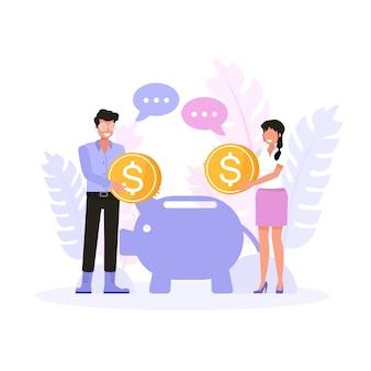 Szczęśliwy mężczyzna i kobieta oszczędzania pieniędzy na przyszłość. zestaw znaków .