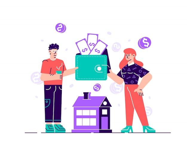 Szczęśliwy mężczyzna i kobieta trzyma torebkę lub portfel z monet i banknotów. pojęcie budżetu rodzinnego lub domowego, planowania finansowego, zarządzania pieniędzmi i oszczędzania. mieszkanie w stylu projektowania ilustracja kreskówka