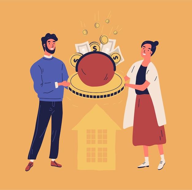 Szczęśliwy mężczyzna i kobieta trzymając torebkę lub portfel z monetami i banknotami