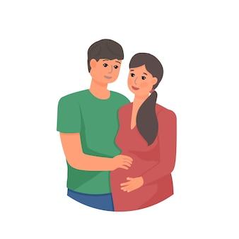 Szczęśliwy mężczyzna i kobieta w ciąży na białym tle ilustracji wektorowych para spodziewa się dziecka