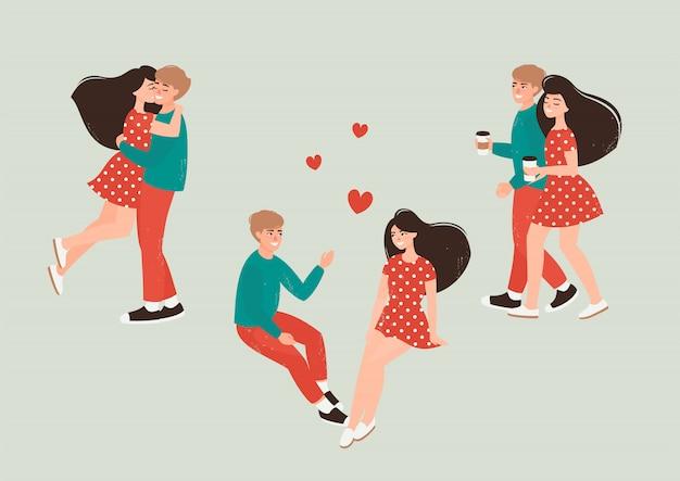 Szczęśliwy mężczyzna i kobieta w miłości, spacery, picia kawy i przytulanie