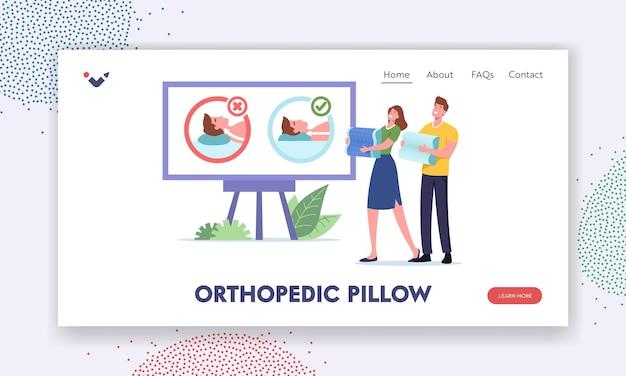Szczęśliwy mężczyzna i kobieta wybierają medyczne poduszki ortopedyczne do wygodnego snu szablon strony docelowej. para postaci oglądaj poduszkę promo nieprawidłowe i prawidłowe użycie. ilustracja wektorowa kreskówka ludzie
