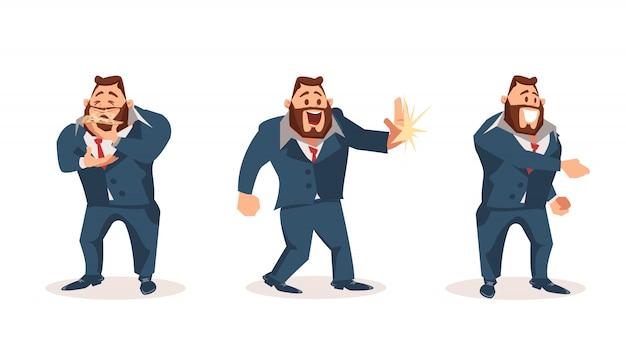 Szczęśliwy mężczyzna pracownik biurowy charakter nosić komplet garnitur