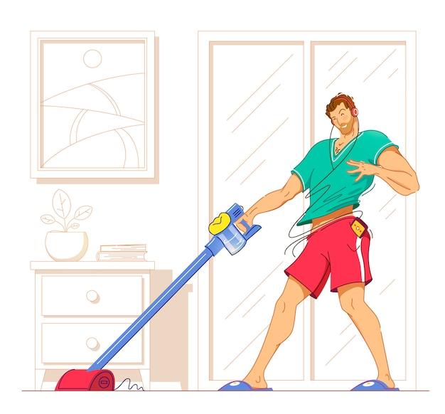 Szczęśliwy mężczyzna, sprzątanie domu, taniec z odkurzacza i zabawy, miejsce. ilustracja.