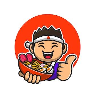 Szczęśliwy mężczyzna szefa kuchni trzymając makaron ramen ikona ilustracja kreskówka.