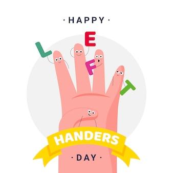 Szczęśliwy międzynarodowy dzień leworęcznych - 13 sierpnia - kwadratowy szablon transparent. lewa dłoń, palce o małych twarzach niosących litery i slogan. świętowanie grzechu. być leworęcznym
