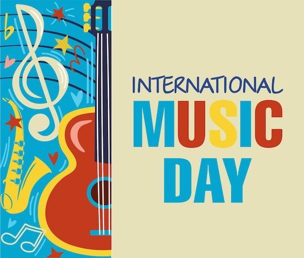 Szczęśliwy międzynarodowy dzień muzyki obchody października ilustracja wektora międzynarodowego dnia muzyki