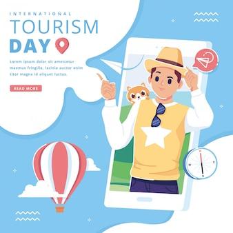 Szczęśliwy międzynarodowy dzień turystyki tło ilustracji