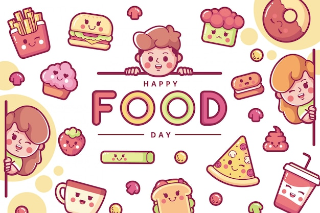 Szczęśliwy międzynarodowy dzień żywności ilustracja tło