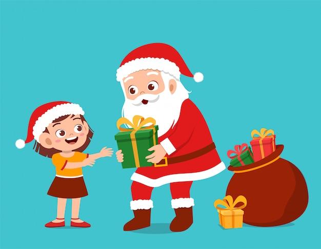 Szczęśliwy Mikołaj Daje Prezent Dzieciom Premium Wektorów