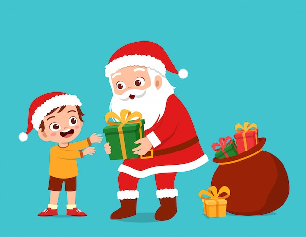 Szczęśliwy mikołaj daje prezent dzieciom