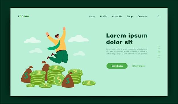 Szczęśliwy milioner skaczący w pobliżu stosu monet płaskiej ilustracji