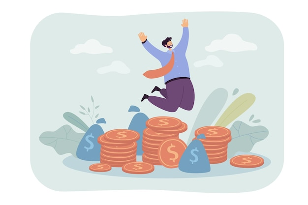 Szczęśliwy milioner skoki w pobliżu stosu płaskich ilustracji monet.