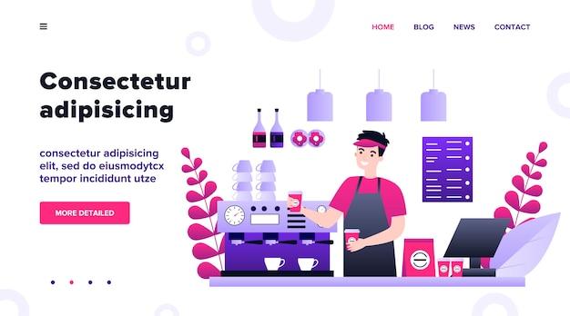 Szczęśliwy młody barista parzenia kawy dla ilustracji klienta. mężczyzna stojący za ladą i oferujący gorący napój. koncepcja obsługi, stacji i lunchu.