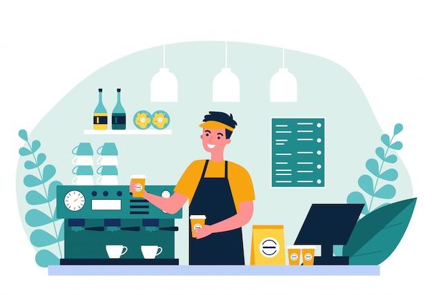 Szczęśliwy młody barista robi kawie dla klienta