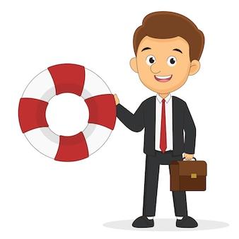 Szczęśliwy Młody Biznesmen I Pas Ratunkowy Premium Wektorów