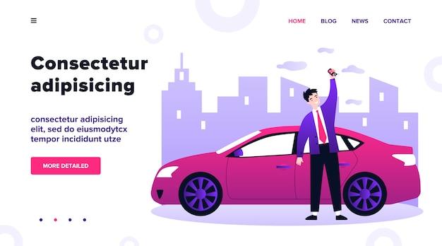 Szczęśliwy młody człowiek leasingu ilustracja samochodu. kierowca trzymający w ręku klucze do swojego nowego pojazdu. dealer przedstawiający nowoczesne auto. koncepcja transportu i leasingu